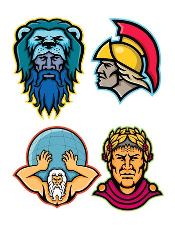 Mascotte icône illustration ensemble de têtes de héros et de dieux romains et grecs dans la mythologie comme Hercule ou Héraclès, Achille ou Achilleus, globe de levage Atlas et Gaius Julius Caesar vu de sur fond isolé dans un style rétro. Vecteurs