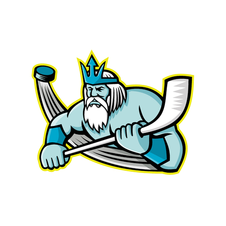 Mascot icon illustration of Poseidon or Neptune, god of the Sea in Greek and Roman mythology holding an ice hockey stick with puck viewed from front on isolated background in retro style. Illustration