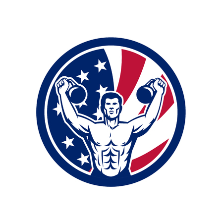 Icon retro style illustration of an American physical fitness buff training with kettlebell and United States of America USA star spangled banner stars and stripes flag in circle isolated background. Ilustração
