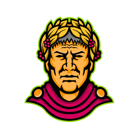 Ilustración del icono de la mascota del jefe de Cayo Julio César, un político romano, general militar y emperador del Imperio Romano, visto de frente sobre fondo aislado en estilo retro.