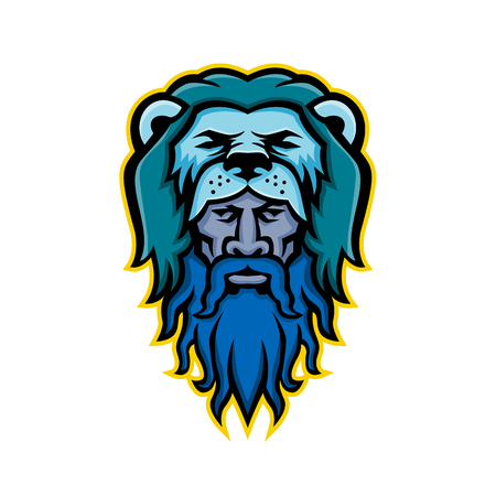 Mascot icon illustration of head of Hercules or Heracles, a Roman hero and mythology god, son of Jupiter wearing a lion skin pelt viewed from front on isolated background in retro style.