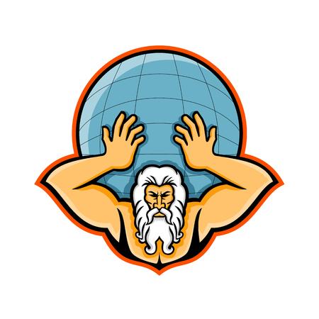 Ilustración del icono de la mascota de la cabeza de Atlas, un Titán en la mitología del dios griego sosteniendo el mundo o el globo visto desde el frente sobre fondo aislado en estilo retro.