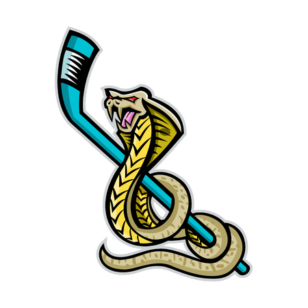 Mascot icon illustration of a king cobra, also known as the hamadryad, a species of venomous snake curling up ice hockey stick on isolated background in retro style. 스톡 콘텐츠 - 102545006