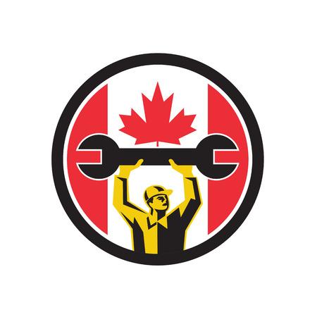 Icon retro style illustration of a Canadian automotive mechanic lifting spanner with Canada maple leaf flag set inside circle on isolated background. Ilustrace