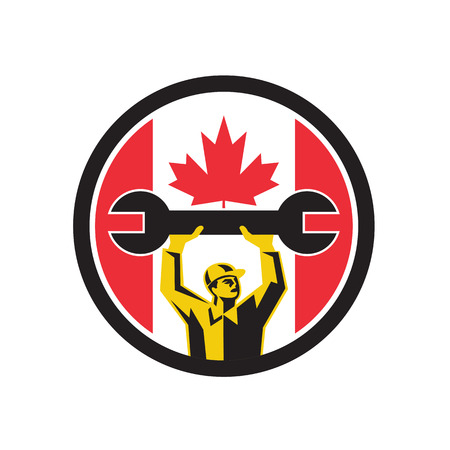 Icon retro style illustration of a Canadian automotive mechanic lifting spanner with Canada maple leaf flag set inside circle on isolated background. Illustration