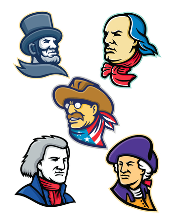 Mascot icon illustration set of heads of American presidents, patriot, heroes and statesman like Abraham Lincoln, Benjamin Franklin,Theodore Roosevelt, Thomas Jefferson and George Washington,  viewed from  on isolated background in retro style.