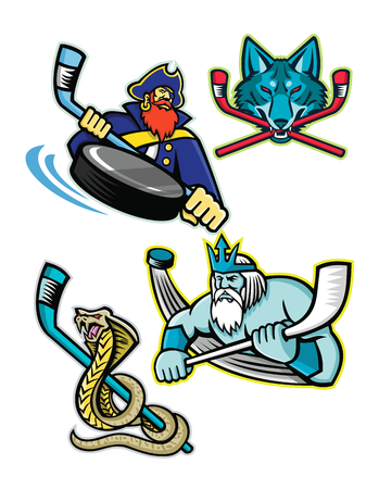Mascot icon illustration set of ice hockey sports mascots such as Swashbuckler or Pirate, Gray Wolf or coyote, Poseidon or Neptune and a king cobra or hamadryad on isolated background in retro style. Banque d'images - 102545008