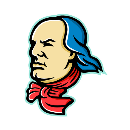 Mascot icon illustration of head of an American polymath and Founding Father of the United States, Benjamin Franklin looking forward viewed from side on isolated background in retro style. Illustration