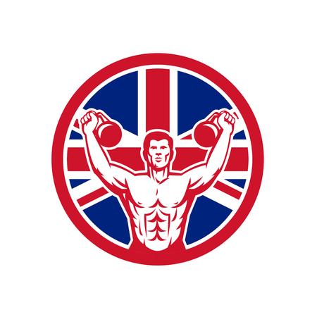Icon retro style illustration of a British physical fitness buff training with kettlebell  and United Kingdom UK, Great Britain Union Jack flag set inside circle on isolated background. Illustration