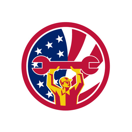 Icon retro style illustration of an American automotive mechanic lifting spanner with United States of America USA star spangled banner or stars and stripes flag inside circle isolated background.