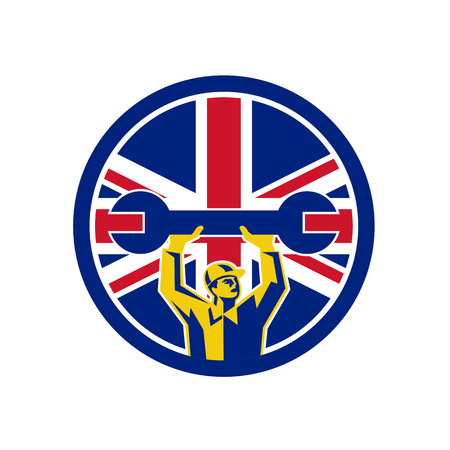 Icon retro style illustration of a British automotive mechanic lifting spanner  with United Kingdom UK, Great Britain Union Jack flag set inside circle on isolated background.