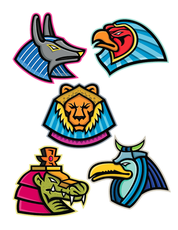 Mascot icon illustration set of heads of ancient Egyptian animal gods or deities like Anubis,sun god Ra, Sekhmet, Sobek and Thoth  viewed from side on isolated background in retro style. Illustration
