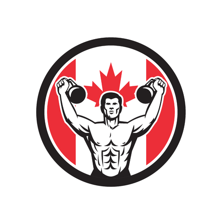Icon retro style illustration of a Canadian physical fitness buff training with kettlebell and Canada maple leaf flag set inside circle on isolated background.