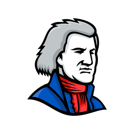 Mascot icon illustration of head of Thomas Jefferson, an American Founding Father and the third President of the United States  viewed from side on isolated background in retro style. Illustration