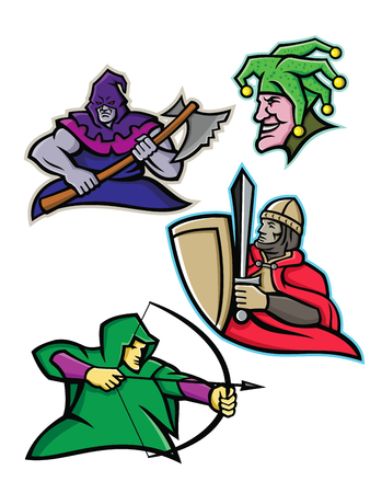 Mascot icon illustration set of a king or royal medieval court persons or characters like the hooded executioner