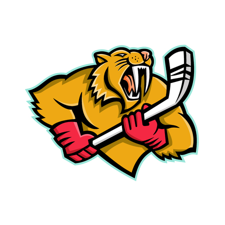 Mascot icon illustration of bust of a saber-toothed cat or Smilodon, with ice hockey stick viewed from front on isolated background in retro style.