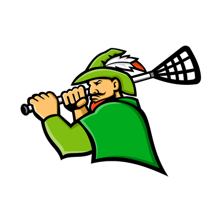 Mascot icon illustration of bust of a green archer or Robin Hood with lacrosse stick  viewed from side on isolated background in retro style. Illustration