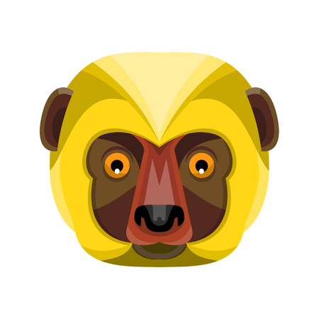 Flat icon illustration of mascot head of a Diademed Sifaka, a lemur of the strepsirrhine primate endemic to the Madagascar viewed from front on isolated background in retro style.