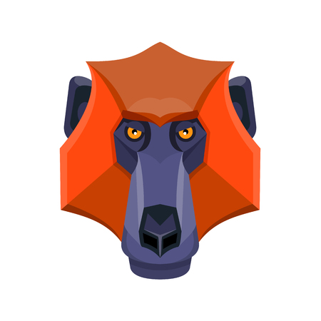Flat icon illustration of mascot head of a baboon, an Old World monkey of the genus Papio, part of the subfamily Cercopithecinae viewed from front  on isolated background in retro style.