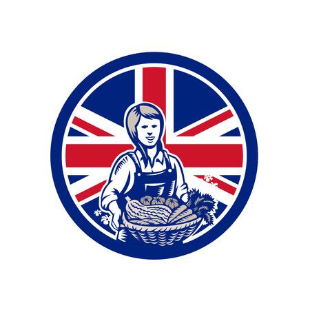 Icon retro style illustration of a British female organic farmer presenting crop harvest  with United Kingdom UK, Great Britain Union Jack flag set inside circle on isolated background. Illustration