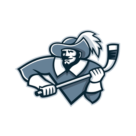 Mascot icon illustration of bust of a musketeer holding an ice hockey stick viewed from front on isolated background in retro style.