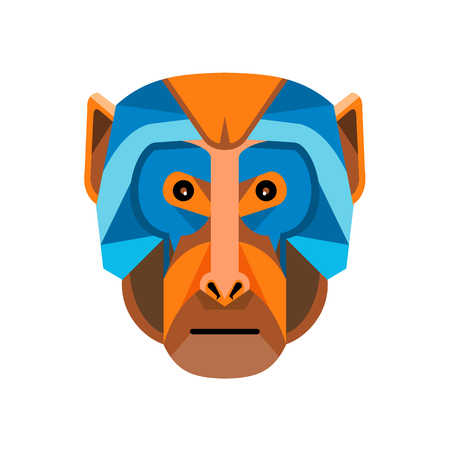 Flat icon illustration of mascot head of a rhesus macaque, a species of Old World monkey viewed from front on isolated background in retro style. Illustration