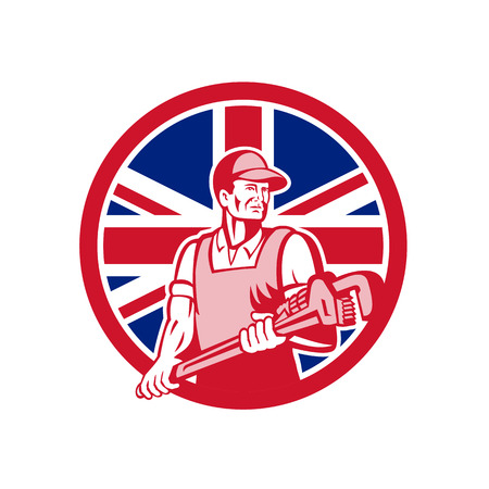 Icon retro style illustration of a British plumber and gasfitter holding monkey wrench with United Kingdom UK, Great Britain Union Jack flag set inside circle on isolated background.