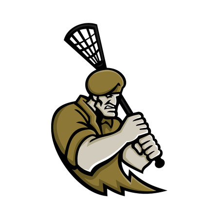 Mascot icon illustration of bust of a commando or elite light infantry or special forces soldier with lacrosse stick viewed from front on isolated background in retro style. Illustration