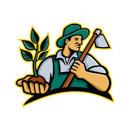 Ilustración del icono de la mascota de un agricultor orgánico con un sombrero sosteniendo una planta en la palma de su mano con una azada de agarre en su hombro mirando hacia un lado sobre un fondo aislado en estilo retro. Ilustración de vector