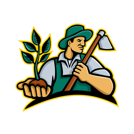 Mascot icon illustration of an organic farmer wearing a hat holding a plant by the palm of his hand with grab hoe on his shoulder looking to side on isolated background in retro style. Illustration