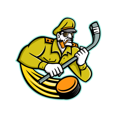Mascot icon illustration of bust of a military army general holding an ice hockey stick viewed from front on isolated background in retro style.