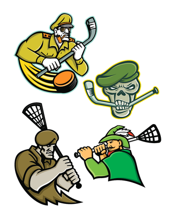 Mascot icon illustration set of lacrosse and ice hockey military and warrior mascots  of an army general, green beret skull, green archer and commando special forces on isolated background in retro style.