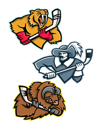 Mascot icon illustration set of ice hockey sporting mascots like the saber toothed tiger or sabre-toothed cat, musketeer or cavalier, musk ox or muskox holding an ice hockey stick  on isolated background in retro style. Illustration