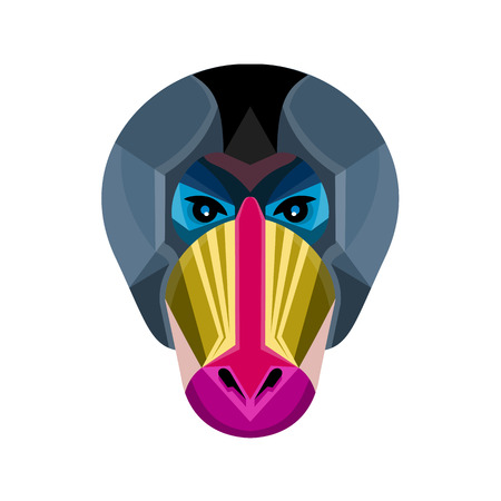 Flat icon illustration of mascot head of a mandrill, a primate of the Old World monkey family viewed from front on isolated background in retro style.