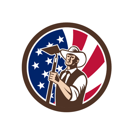 Icon retro style illustration of an American organic farmer holding a grab hoe with United States of America USA star spangled banner or stars and stripes flag inside circle isolated background.