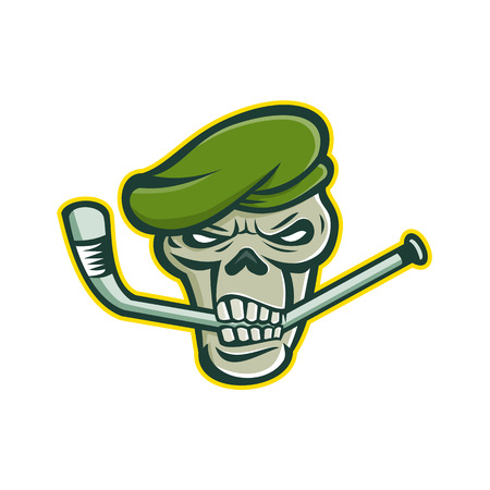 Mascot icon illustration of skull head of a green beret commando or elite light infantry or special forces soldier biting an ice hockey stick viewed from front on isolated background in retro style. Çizim