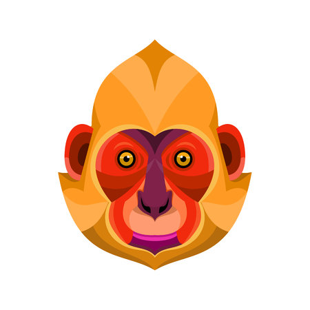 Flat icon illustration of mascot head of a white-headed, golden-headed or Cat Ba langur viewed from front on isolated background in retro style.