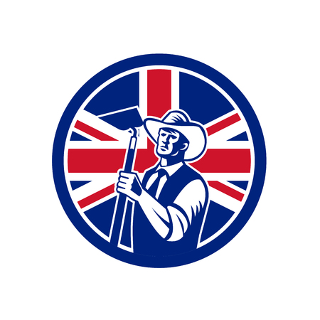 Icon retro style illustration of a British organic farmer holding a grab hoe with United Kingdom UK, Great Britain Union Jack flag set inside circle on isolated background.