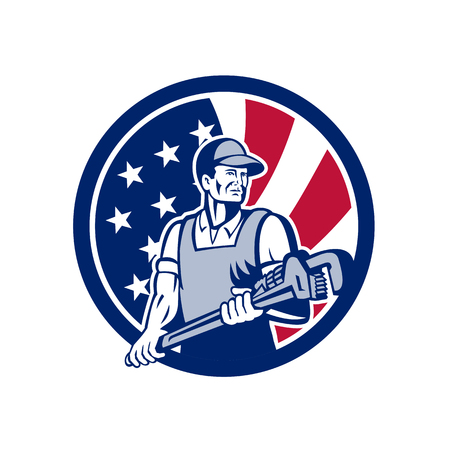 Icon retro style illustration of an American plumber and Pipefitter  holding monkey wrench with United States of America USA star spangled banner or stars and stripes flag in circle isolated background.