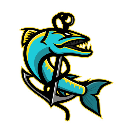 Mascot icon illustration of a great barracuda, a saltwater fish that is snake-like with fearsome appearance and ferocious behaviour, coiling up an anchor on isolated background in retro style. Illustration