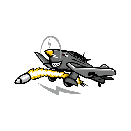 Mascot icon illustration of a Junkers Ju 87 or Stuka, a German dive bomber and ground-attack aircraft during World War II , firing a rocket missile on isolated background in retro style.