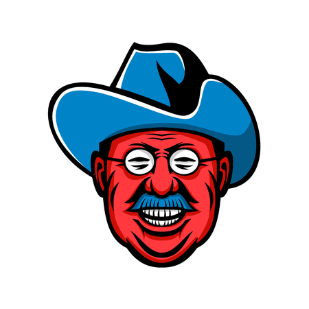 Mascot icon illustration of head of Theodore Roosevelt, American president and commander of Rough Riders viewed from front on isolated background in retro style.