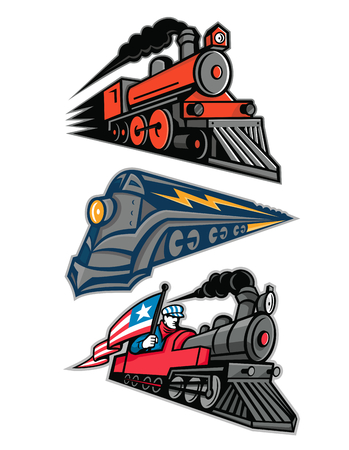 Mascot icon illustration set of vintage steam locomotive or steam engine railway train speeding up  viewed from side  on isolated background in retro style.