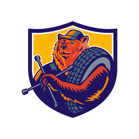 Mascot icon illustration of bust of a bear tireman or tire man, holding a tire wrench or socket with tyre slung over shoulder set inside crest shield on isolated background in retro woodcut style. Illustration
