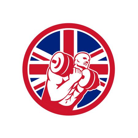 Icon retro style illustration of a British fitness gym circuit with athlete lifting dumbbell and United Kingdom UK, Great Britain Union Jack flag set inside circle on isolated background. Illusztráció