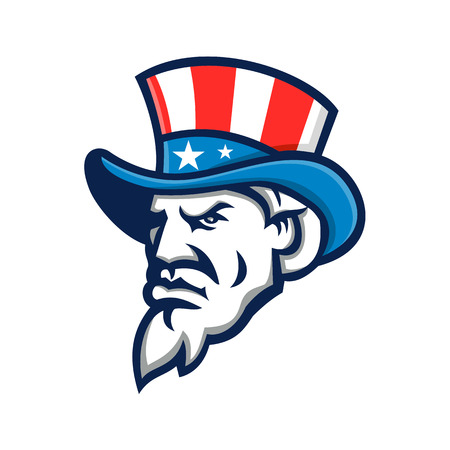 Mascot icon illustration of head of Uncle Sam wearing a top hat with USA  American stars and stripes viewed from side on isolated background in retro style. Illustration