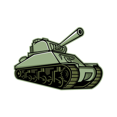 Mascot icon illustration of an M4 Sherman, the most widely used medium tank by the United States and Western Allies in World War II  viewed from a low angle on isolated background in retro style.