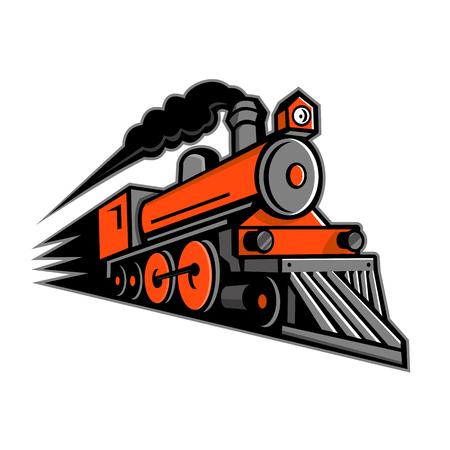Ilustración del icono de la mascota de una locomotora de vapor de época o un tren a toda velocidad subiendo por el espectador sobre fondo aislado en estilo retro.