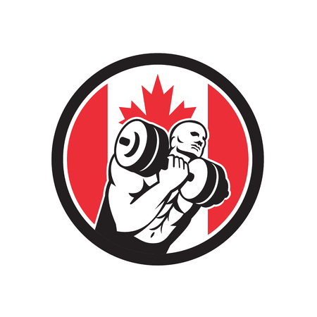 Icon retro style illustration of a Canadian fitness gym circuit with athlete lifting dumbbell and Canada maple leaf flag set inside circle on isolated background.