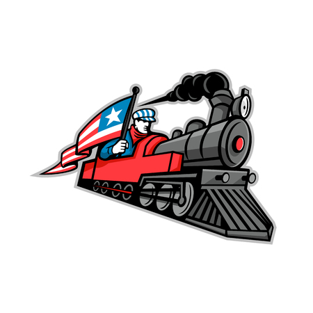 Mascot icon illustration of a vintage steam locomotive or train with a train driver, engineer or mechanic holding an American stars and stripes flag on isolated background in retro style.